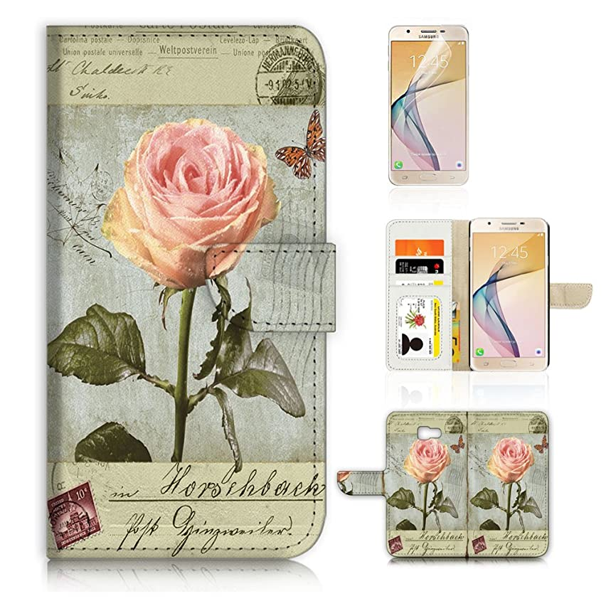 (For Samsung J7 Prime / J7 V / J7 Perx / J7 2017 / J7 Sky Pro / Galaxy Halo ) Flip Wallet Style Case Cover, Shock Protection Design with Screen Protector - B31054 Flower Stamp