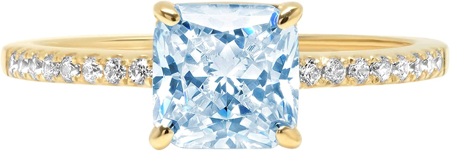 1.66ct Brilliant Asscher Cut Solitaire Accent Genuine Flawless Natural Sky Blue Topaz Gemstone Engagement Promise Anniversary Bridal Wedding Ring Solid 18K Yellow Gold