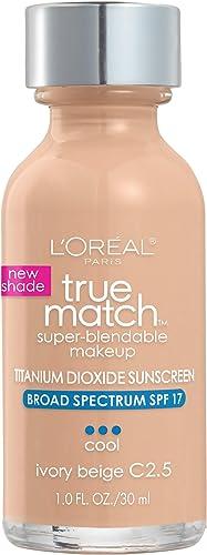 L'Oreal Paris Makeup True Match Super-Blendable Liquid Foundation, Ivory Beige C2.5, 1 Fl Oz,1 Count