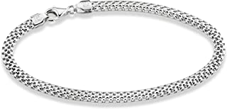 925 Sterling Silver Italian 4mm Mesh Link Chain Bracelet for Women Girls 6.5, 7, 7.5, 8 Inch Made in Italy