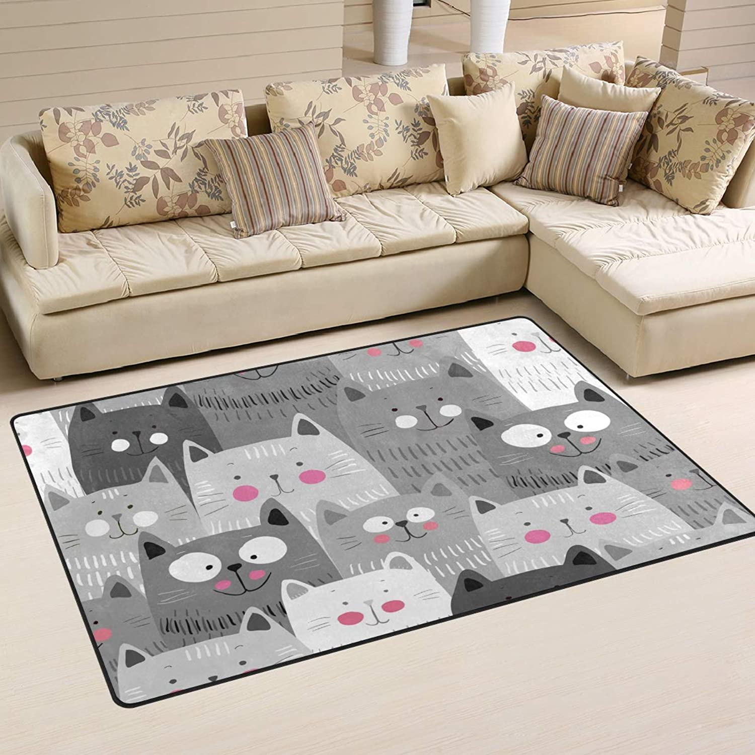 Area Rugs Doormats Cute Cats colorful 5'x3'3 (60x39 Inches) Non-Slip Floor Mat Soft Carpet for Living Dining Bedroom Home