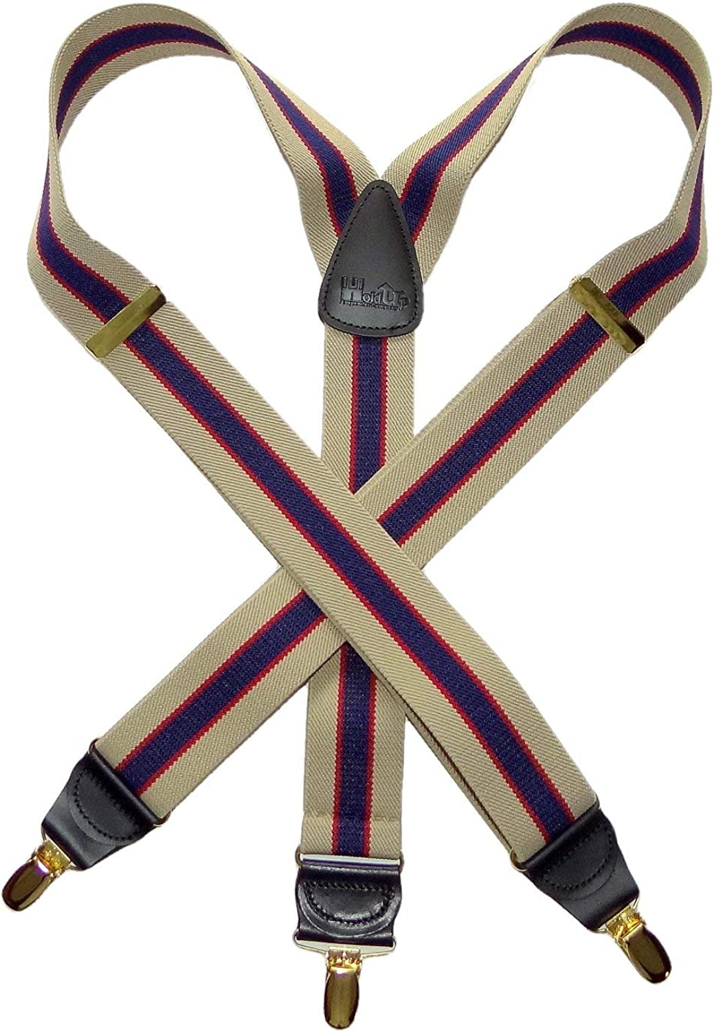 Striped Series Holdup Khaki and Navy Striped Y-back Suspenders with Patented No-slip Gold Tone Clips