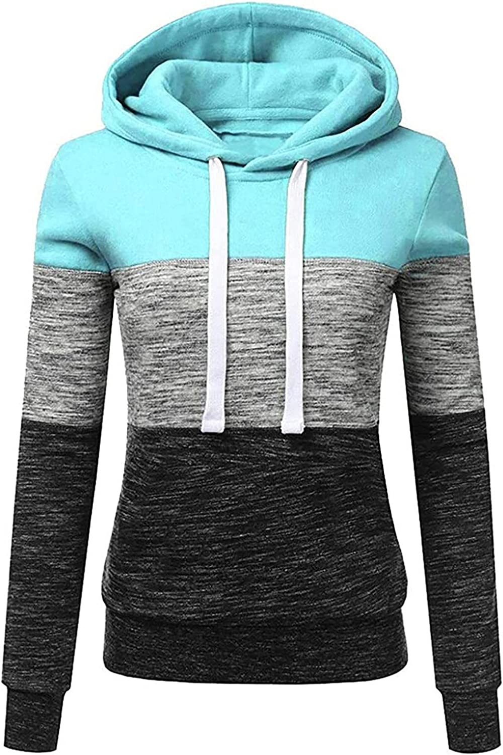 Women's Plus Size Hoodies Sweatshirts Long Sleeve Color Block Soft Drawstring Hooded Sweater Pullover Tops Shirts Sweaters