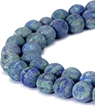 BRCbeads Chrysocolla Natural Gemstone Loose Beads 6mm Matte Round Crystal Energy Stone Healing Power for Jewelry Making-