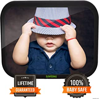 Sunferno Baby Car Mirror - Unbreakable Certified Rear Facing Car Seat Mirror for Effortlessly Monitoring Your Child in The Back Seat - Crash Tested, Durable and Adjustable Infant Baby Mirror for Car