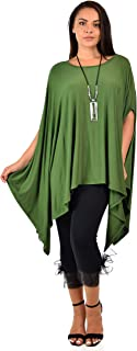 Women Versatile Loose Fit Dolman Poncho Tunic Dress Top Cover Up