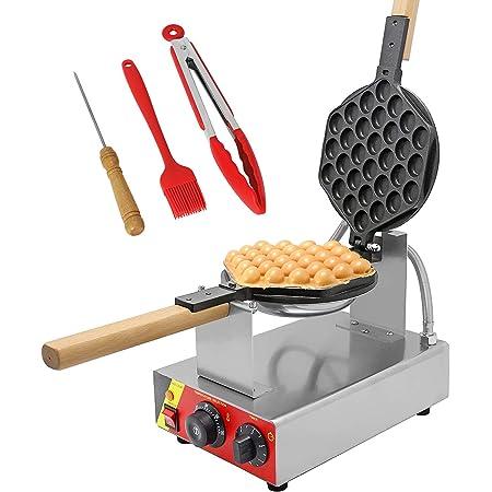CGOLDENWALL Bubble Waffle Gaufrier Machine Électrique 0-300°C Réglage de la Température Minuterie 0-5 Minutes Anti-adhésive Facile à Nettoyer Certifié CE (220 Volts)