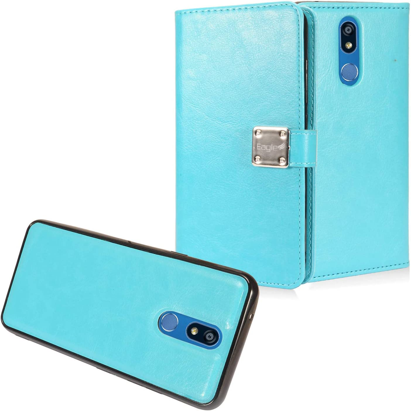 Z-GEN - for LG K40, Xpression Plus 2 (2019) LM-X420, LG Solo LTE L423DL - Detachable Magnetic Flip Wallet Phone Case + Tempered Glass Screen Protector - MW2 SkyBlue