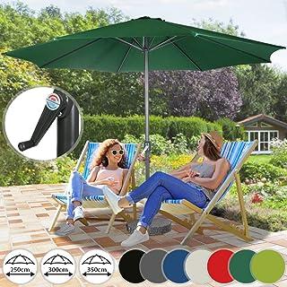 Sombrilla de Terraza | de Diámetros Ø 250 / 300 / 350 cm, Protección Solar UV30+, Mástil de Acero, Sistema de Manivela, Poliéster 160g/m2, Color a Elegir | Parasol para Jardín y Patio con Ventilación (Ø350/verde)