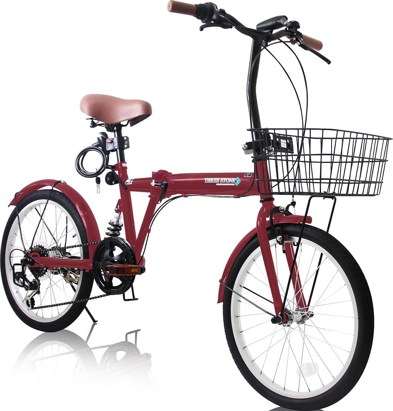 小川分布できたカゴ&リアサスペンション付 20インチ 折りたたみ自転車 EB-020-T シマノ外装6段ギア ワイヤーロック錠?フロントLEDライト付属 (ミニベロ/折り畳み自転車/軽快車/自転車)