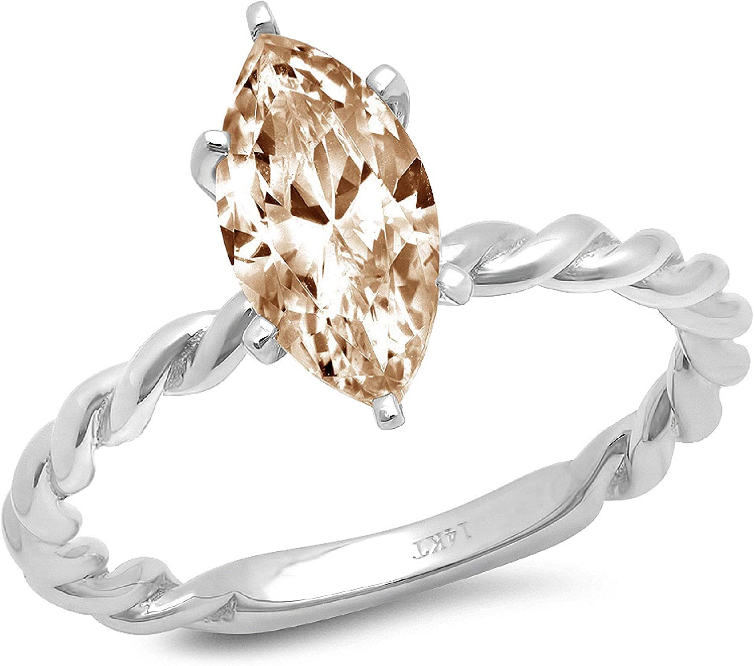 2.1 ct Marquise Cut Solitaire Stunning New item Rope Twisted Outstanding Knot Flawles