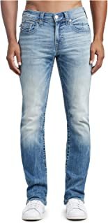 True Religion Mens Straight Leg Stretch Jeans w/Flap Pockets in Stone Claw