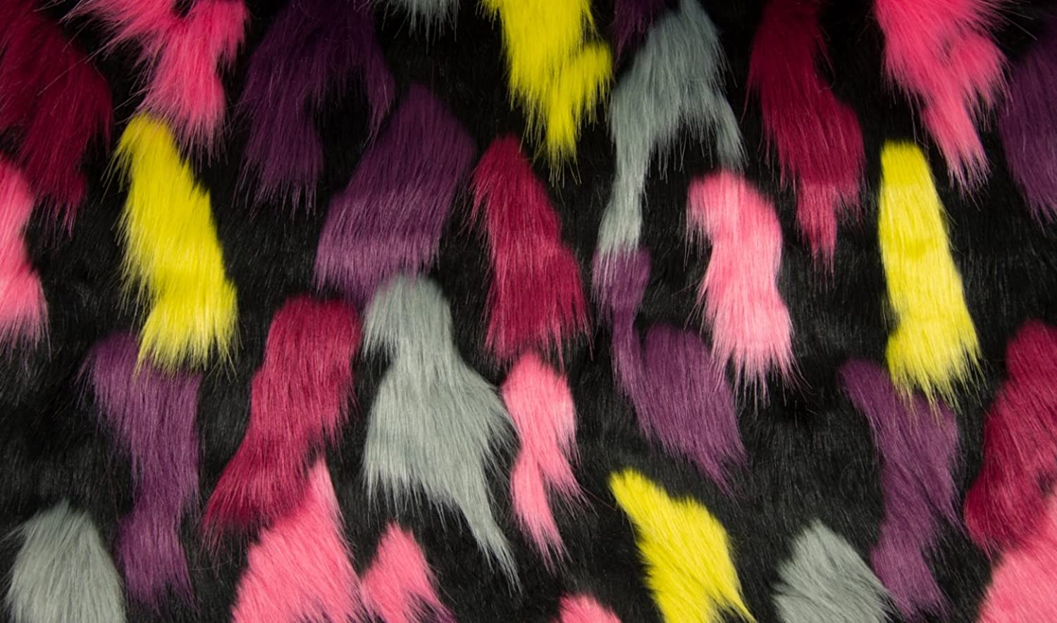 Super Luxury Faux Fur Fabric Material  HILO BLACK PINK RED YELLOW GREY