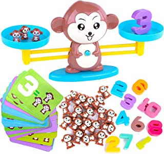 HOWADE Monkey Balance Math Game,Monkey Weighing Scale Montessori Educational Stem Counting Toys for 3 4 5 Years Old Age