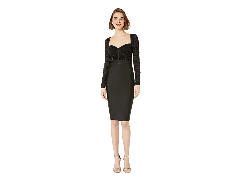 Bebe Mesh Contrast Bandage Dress (Jet Black) Women