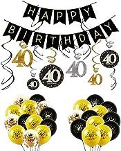 INTVN 40 Decoración para Fiestas de Cumpleaños en Negro y Dorado, 40 Cumpleaños Pancarta, 40 cumpleaños Colgante remolinos y 40 Cumpleaños Globos de látex