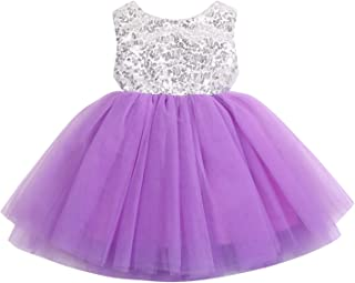YOUNGER TREE Toddler Kids Baby Girls Dress Sleeveless Sequins Bow-Knot Party Wedding Prom Princess Lace Tutu Tulle Outfits