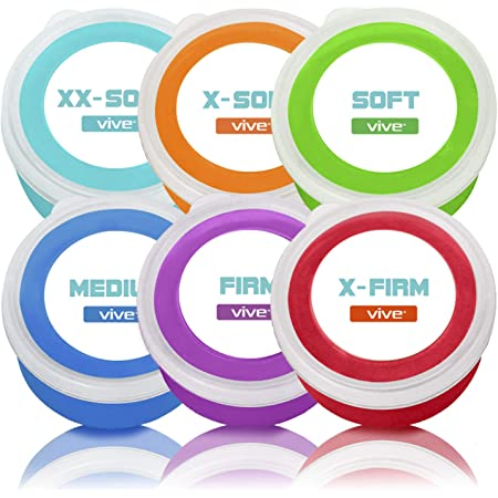 Vive Exercise Putty (6-Pack) - Therapeutic, Occupational and Therapy Tool - Thinking and Stress - Finger, Hand Grip Strength Exercises - Extra Soft, Soft, Medium, Firm Sensory Kit - Squeezable Ball