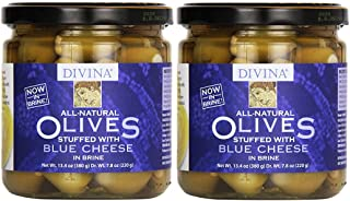 Divina Green Olives Stuffed w/Blue Cheese, 7.8 oz (Pack of 2)