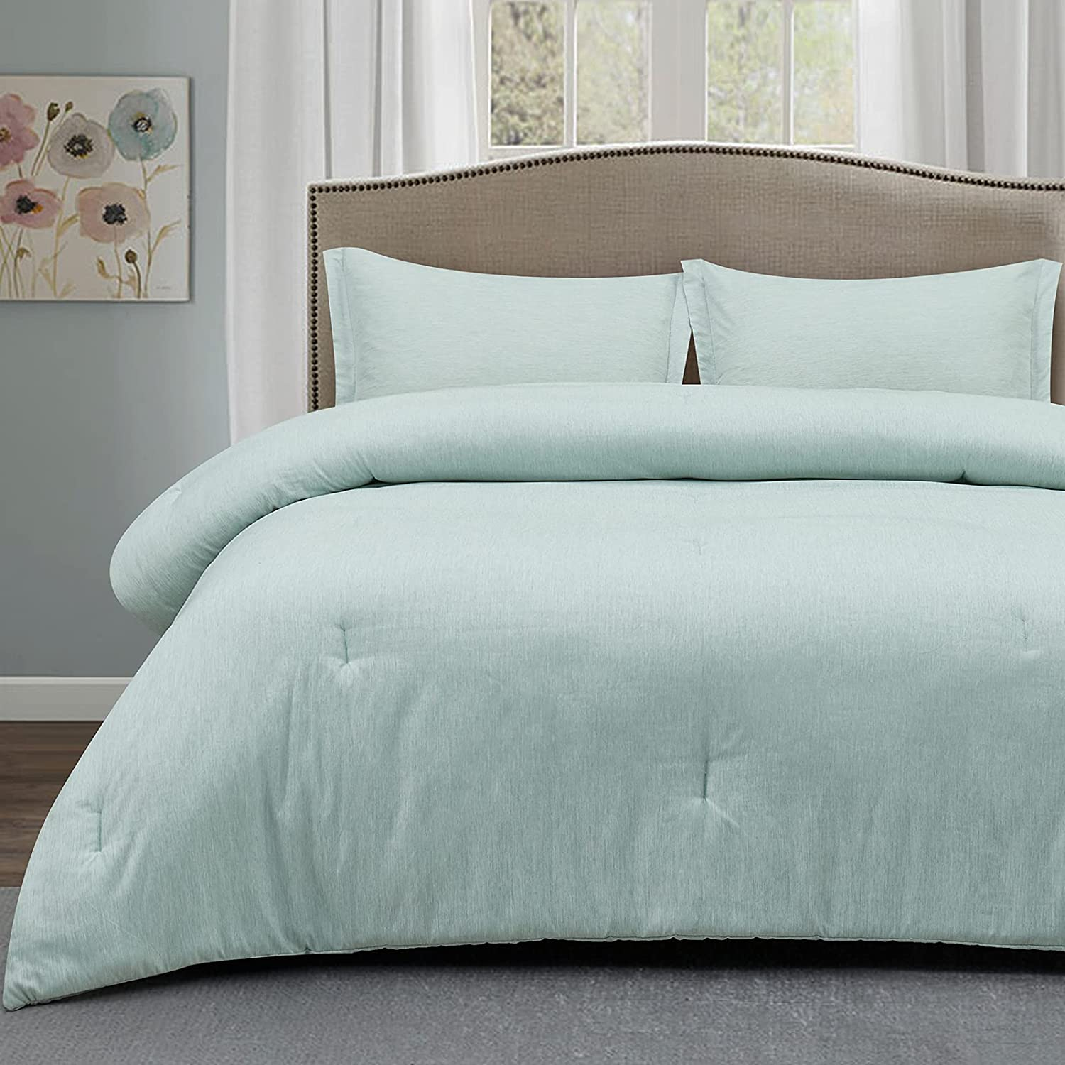 CozyLux Queen Comforter Set Deluxe Light Our shop most popular 3-Piece Dyeing Cationic Green
