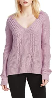 SUWIINA Women's V Neck Knit Sweater Long Sleeve Casual Loose Knitted Pullover Sweater Tops