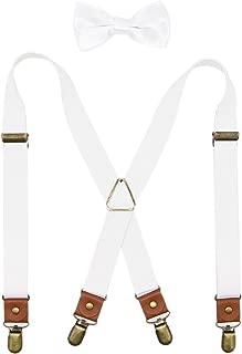 Deluxe Pre-Tied Tuxedo Bow Tie & Suspenders Set For Men & Boys By Bioterti