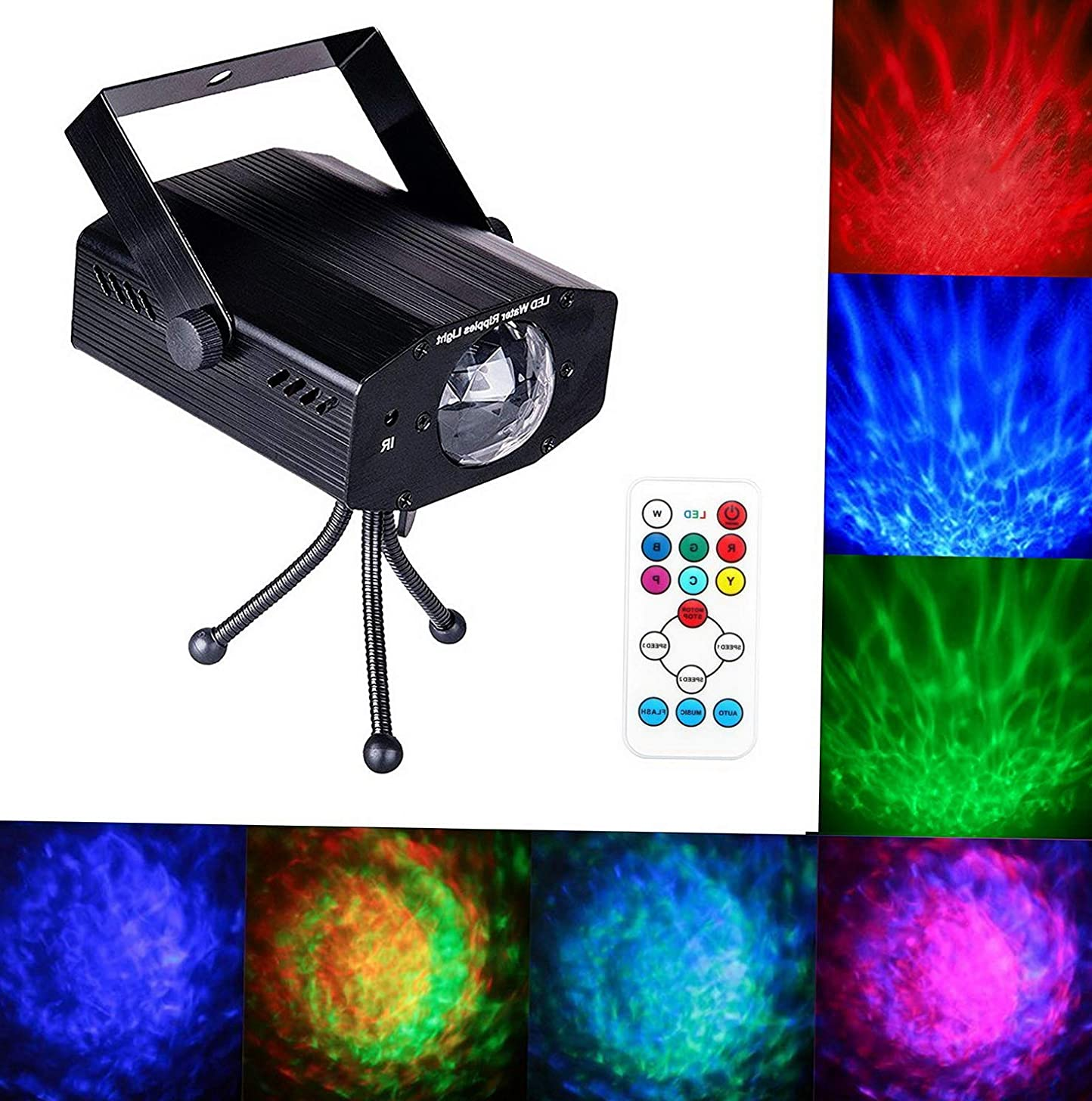 Mikash LED Water Ripples Laser Projector Sound Activated Strobe Stage Lighting RGB Disco Dj Party Show Lights 7 Color with Wireless Remote Control for Club Birthday Wedding | Model WDDNG - 186