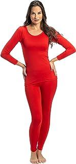 ملابس داخلية من قطعتين حراريتين وفائقتي النعومة للنساء من روكي - بلوزة وسروال داخلي مبطنان بالصوف احمر Medium