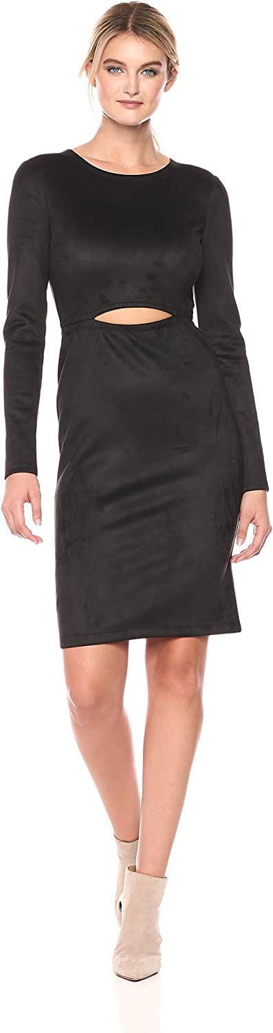 BCBGMAXAZRIA Womens Whitley Knit Faux Suede Dress with Cutout Dress