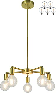 XiNBEi Lighting 5 Light Chandeliers, Pendant Lighting with LED Bulbs, Satin Brass Finish XB-C1211-5-SB