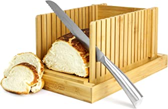 Bamboo Bread Slicer | Loaf Cutting Board & Knife Slicing Guide | Adjustable, Foldable, Compact | For Homemade or Bought Bread Cakes & Loaves | M&W