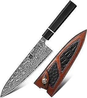 Couteau de cuisine de 8,5 dans le Chef de Chef Haute Carbon Série Japonaise Damas Couteaux de haute qualité en acier ébène...