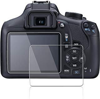 Screen Protector for Canon Eos Rebel T6 Kiss X80 1300d Rebel T5 Kiss X70 1200d,debous Arc Edge Optical Tempered Glass LCD Hard Protective for Canon T6 T5 DSLR Camera (2 Pack)