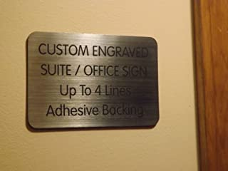 Custom Engraved 4x6 Brushed Silver Black Lettering Door Suite Wall Sign | Name Plate | Personalized Wall Plaque | Business Doctor Law Firm Home Office Cafe Shop | Up to 4 Text Lines | Adhesive Backed