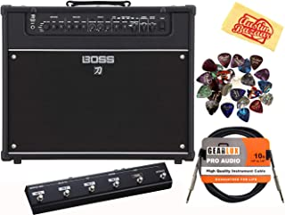 Boss Katana Artist 100-Watt 1x12-Inch Guitar Amplifier Bundle with GA-FC Foot Controller, Instrument Cable, 24 Picks, and Austin Bazaar Polishing Cloth