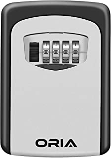 ORIA Key Storage Lock Box, 4-Digit Combination Lock Box, Wall Mounted Lock Box, Resettable Code, 5 Key Capacity