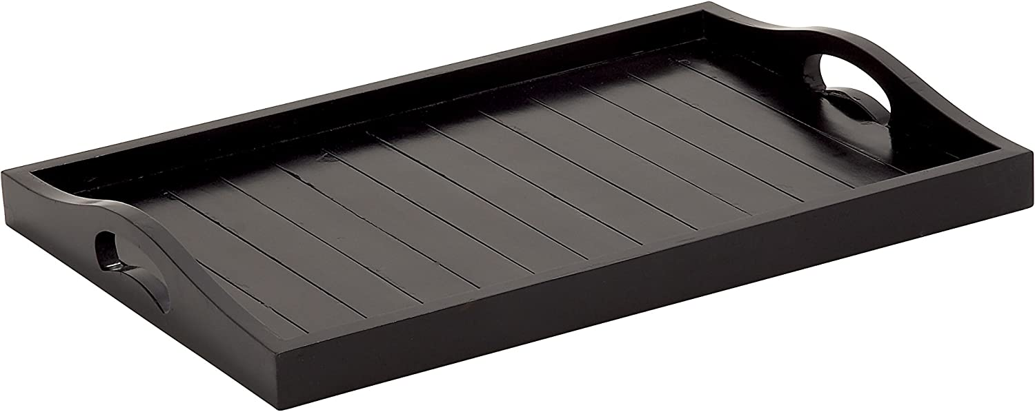 Limited time Cheap bargain cheap sale Plutus Brands Stylish and Wood Tray Black Useful