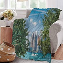 Luoiaax Detroit Commercial Grade Printed Blanket Detroit Sightseeing on a Summer Afternoon Modern Architecture River and Boat Queen King W60 x L70 Inch Green Blue Aqua
