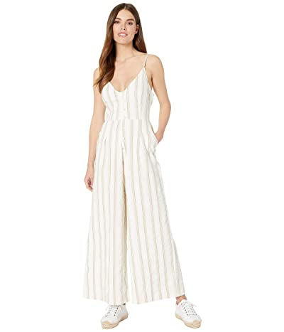 Roxy Wheel and Palms Strappy Wide Leg Jumpsuit (Marshmallow Be Mine Stripe) Women