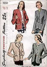 Simplicity 1550 Vintage 1940's 3 Button Blazer Or Jacket Pattern B32 FF