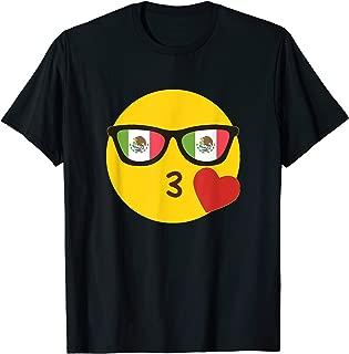 Emoji Mexico T-Shirt Mexican Flag Sunglasses Funny Tee