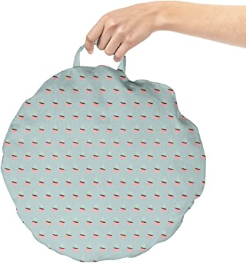 Lunarable Drinks Round Floor Cushion with Handle, Simplistic Illustration of Mini Coffee Mugs Cups Arranged Repeatedly, Decor