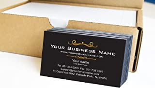 Simple Custom Premium Business Cards 500 pcs Full color - Black front-White back (129 lbs. 350gsm-Thick paper), Made in The USA