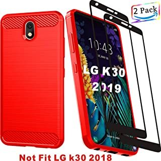 """HNHYGETE LG Tribute Royal,LG Arena 2 Case, LG Escape Plus Case,LG K30 2019/ X2 2019 Screen Protector Phone Cover Shockproof Soft TPU Case(2019) 5.5"""" (Red)"""