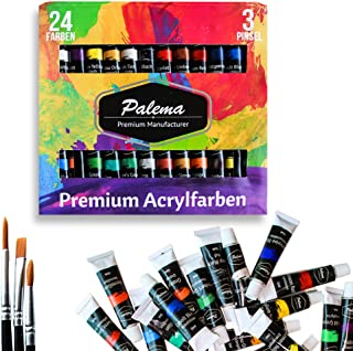 Acrylic Paint Set 24 Tube 3 Brushes Water Based Non Toxic for Artists Hobby Kids Adults Crafts Art School Supplies Profess...