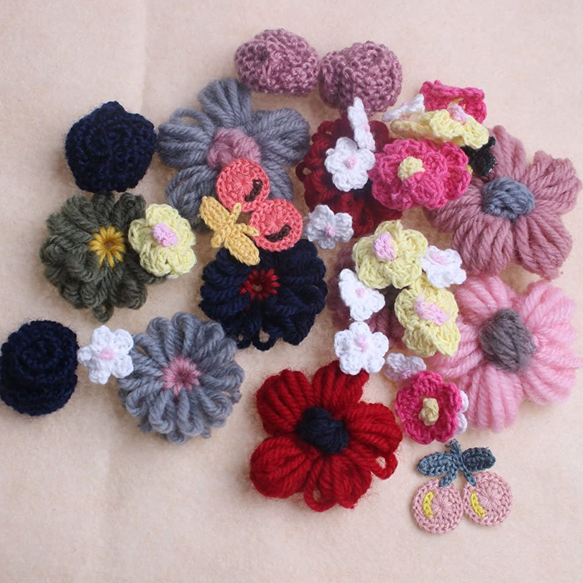 36pcs Embroidery Corchet Flowers Cherrys Appliques Sewing Embellishments Mixed Sizes