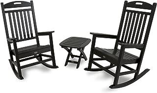 Trex Outdoor Furniture TXS121-1-CB Yacht Club 3-Piece Rocker Chair Set, Charcoal Black
