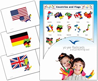 Yo-Yee Flashcards - Continents, Countries, Capital and Flags Flash Cards - Vocabulary Picture Cards for Toddlers, Kids, Children and Adults