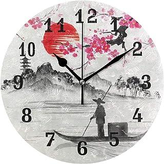 DOSHINE Wanduhr, japanische Landschaft, Sakura-Blume, leise,