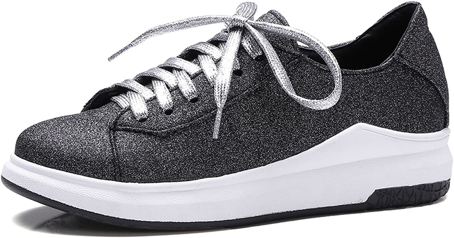 DecoStain Women's Fashion Comfort Lace Up Platform Heels Sneakers Low Top Creepers Sports Jogging Walking Trainers shoes